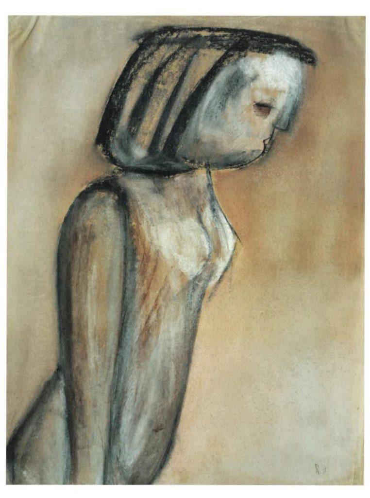 Akt im Profil, 1924, Schwarze Kreide, Gouache,65,3 x 50,3 cm