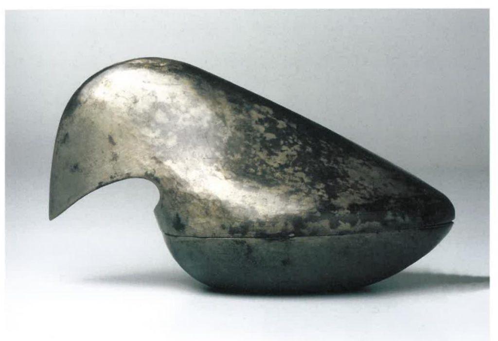 Vogeldose, 1928, Zinn, getrieben, H 11 cm