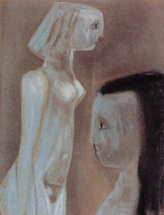 Weisser Akt und Kopf mit dunklem Haar